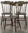 Set of six Pennsylvania painted plank seat dining chairs