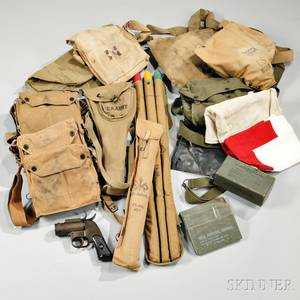 Group of WWI and WWII Gas Masks Goggles and Signal Flags