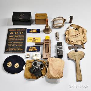 Group of British Air Raid Precautionary Objects