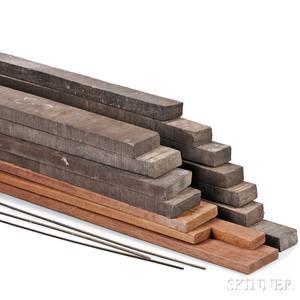 Box of Eleven Ebony Planks and Three Mahogany Planks