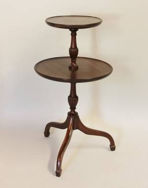 20th C Mahogany 2Tier Dumb Waiter