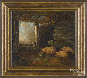 Continental oil on canvas barn scene with pigs