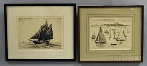 Reynolds Beal American 18661951 Two Marine Etchings YachtingMarblehead Harbor