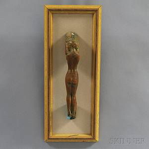 John Whorf American 19031959 Carved Door Handle in the Form of a Female Nude