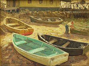 Winfield Scott Clime American 18811958 Dories at Low Tide