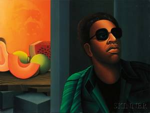 Jonathan Bruce African American b 1948 SelfPortrait with Melons