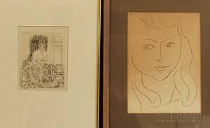After Henri Matisse French 18691954 Two Works Pierre Reverdy Visages Tete de Jeune Fille