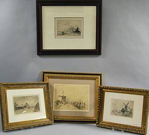 JohanBarthold Jongkind Dutch 18191891 Set of Four Framed Prints Leaving the Maison Cochin