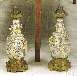 Pair of rose medallion vases mid 19th c