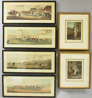 Six Framed Prints Thomas Sutherland British b 1785 After Alken Four Framed Fox Hunt Prints Epsom Ascot Heath Ipswich