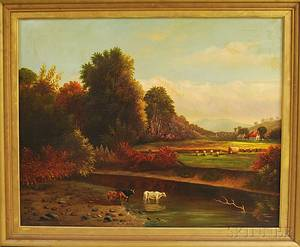 American School 19th Century Autumn Landscape with Hayworkers and Cows Watering