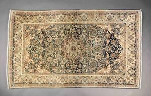 Hand Woven Persian Nain Wool wSilk Rug