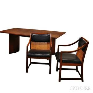 Midcentury Teak Dining Table and Two Chairs