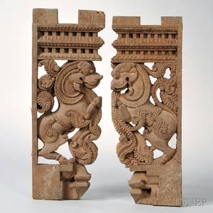 Two Indian Carved Wood Architectural Fragments