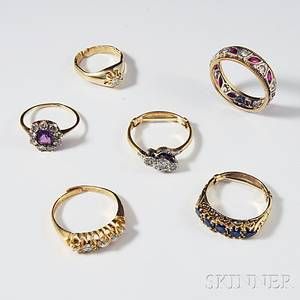 Six Mostly 14kt Gold Diamond and Gemset Antique Rings