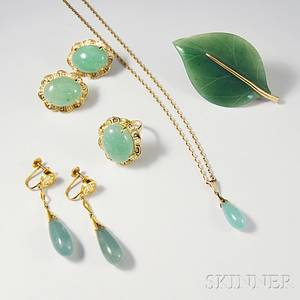 Group of 14kt Gold and Jade Jewelry