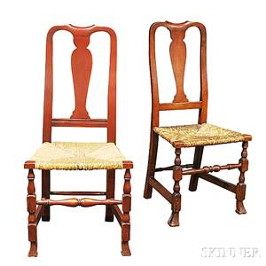 Two Queen Anne Redpainted Rushseat Side Chairs