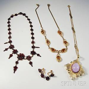 Three Necklaces and a Pair of Earrings