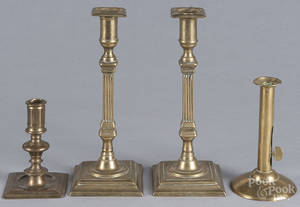 Pair of English brass candlesticks