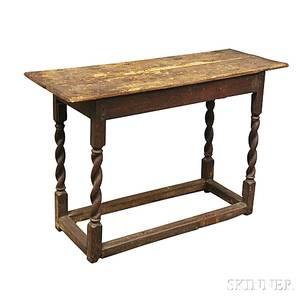 Jacobean Oak Stretcherbase Table