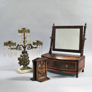 Federal Inlaid Mahogany Veneer Dressing Mirror and a Pair of Olga Muller Bookends