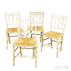 Set of Four Whitepainted Rushseat Side Chairs