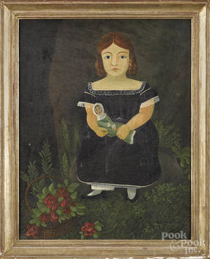 Oil on canvas folk portrait of a young girl