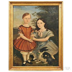 American School 19th Century Portrait of Two Children with Their Pet Rabbit