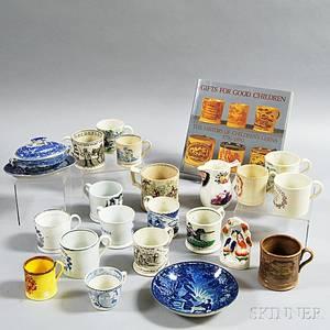 Twentyone Pieces of Transferdecorated Pottery