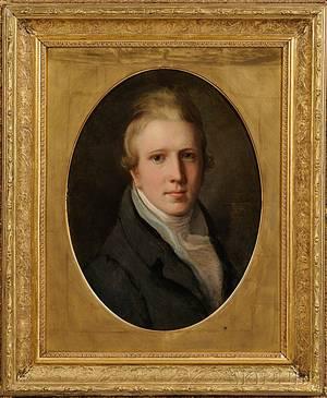 American School Early 19th Century Portrait of John Perkins