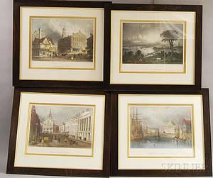 Four Framed Bartlett Engravings of Boston