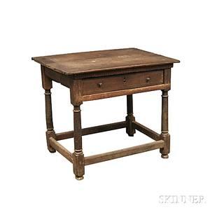 Jacobean Oak Onedrawer Stretcherbase Table