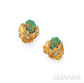 18kt Gold Chrysoprase and Diamond Earclips