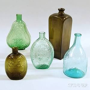 Three Early Glass Flasks and Two Bottles