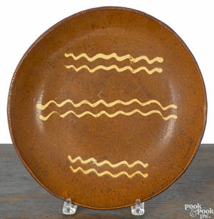 Large redware shallow bowl 19th c