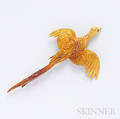 18kt Gold Pheasant Brooch Hermes