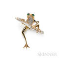 18kt Gold and Diamond Frog Brooch