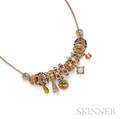 14kt Gold Gemset Charm Necklace