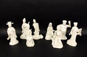 Group of Eight Immortals Chinese Blanc de Chine