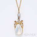 9kt Gold and Moonstone Pendant