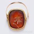 Antique Gold and Hardstone Intaglio Ring