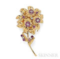 18kt Gold Ruby and Diamond Flower Brooch
