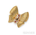 18kt Gold Gemset Bow Brooch