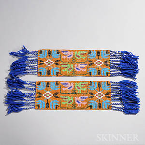 Pair of Mesquakie Loomwoven Pictorial Beaded Garters
