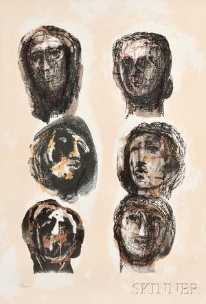 Henry Moore British 18981986 Six Heads Olympians