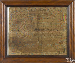 Rare Pikeland Township Chester County Pennsylvania ink and watercolor fraktur dated