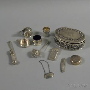 Eleven Assorted Small Mostly Sterling Silver Items