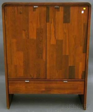 HU Vallieres Modern Rosewood Veneer Twodoor Wardrobe