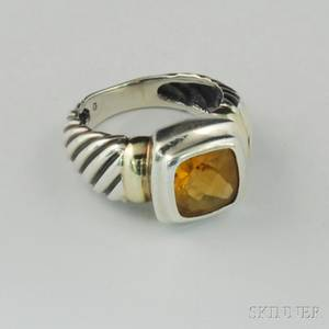 David Yurman Sterling Silver 14kt Gold and Citrine Ring