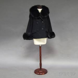 Black Wool Jacket with Fur Collar and Cuffs